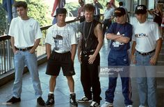 II Photo of Danny WOOD and Jordan KNIGHT and Donnie WAHLBERG and Joey McINTYRE and NEW KIDS ON THE BLOCK and Jonathan KNIGHT, Posed group portrait L-R Jordan Knight, Danny Wood, Donnie Wahlberg, Joey McIntyre and Jonathan Knight