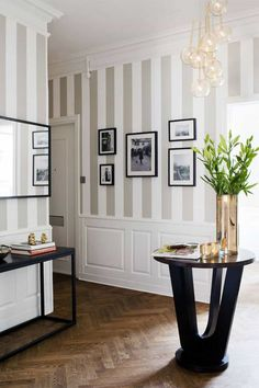 Foyer With Striped Wallpaper And Multiple Pendant Lighting : Decorating With Striped Wallpaper