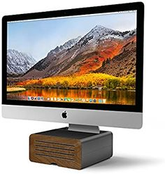Amazon.com: Twelve South HiRise Pro for iMac/ Displays/ Monitors | Height-adjustable stand w/ storage, reversible front + leather inlay: Computers & Accessories Award Display, Leather Valet Tray, Hidden Spaces, Monitor Stand, Buy Apple, Modern Sculpture, Computer Accessories, In The Heights, Storage