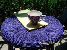 Purple Wicker Table Purple Outdoor Furniture, Wicker Table, Girls Bedroom, Sofas, Lavender, Decorating Ideas, Bar, Tableware, Outdoor Decor