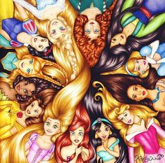 Rapunzel. Ariel. Jasmine. Aurora. Pocahontas. Cinderella. Mulan. Merida. Elsa. Snow. Anna. Tiana. Belle.