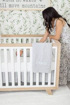 Gender neutral nursery with leaf wallpaper Nursery Wallpaper, Tree Wallpaper, Project Nursery, Nursery Decor, Nursery Ideas, Unisex Baby Room, Milestone Pictures, Botanical Wallpaper, Personalized Baby Blankets
