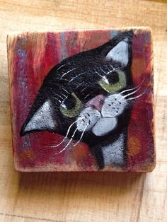 Sad Kitty Cat Rustic Original Folk Art Painting Illustration Prim A Gambrel | eBay