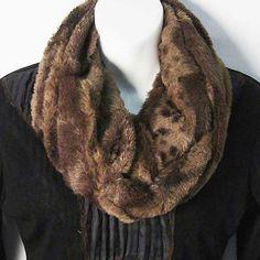 Tigerstars l $21.99 Soft Leopard Brown Faux Fur Loop Infinity Scarf