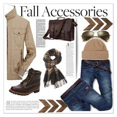 """Men's Accessories for Autumn"" by keri-cruz on Polyvore featuring Jeep Rich, Timberland, L.L.Bean, Ray-Ban, Topman, men's fashion and menswear"