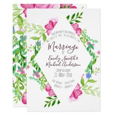 Stunning Watercolor Wedding Floral Flowers Invites - spring wedding diy marriage customize personalize couple idea individuel