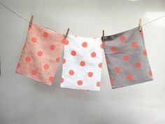 Coral Polka Dot Hand Printed Linen Pillow Case your choice of color decorative spring home decor 12 x 16 on Etsy, $43.96 AUD