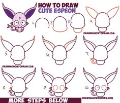 How to Draw Cute Kawaii / Chibi Espeon from Pokemon Easy Step by Step Drawing Tutorial for Kids