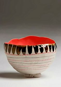 White clay hand-pinched-bowl by Zizipho Poswa. Ceramic Plates, Porcelain Ceramics, Ceramic Pottery, Pottery Art, Slab Pottery, Pottery Studio, Pottery Designs, Painted Porcelain, Clay Pinch Pots