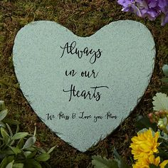 Memorial Expressions Personalized Heart Garden Stone Buy personalized garden stones to remember a lost loved one. Choose colors, fonts & add any text to our heart-shaped memorial garden stones. Memorial Garden Stones, Memorial Flowers, Personalized Garden Stones, Rose Garden Portland, Personalized Memorial Gifts, Sympathy Gifts, Sympathy Notes, Bridal Shower Games, Stone Painting