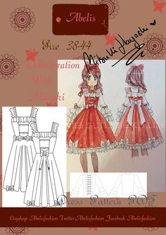 Pattern formed by JSK for lolita girls. A classic and sweet style. Perfect for this Christmas.  Surprise everyone with this set inspired by Christmas.    Designed by Mitsuki Hayashi as part of a collaboration with me.     The measures can be customized to individual measures. Send the measures listed here below to create your own pattern.    -Contour Chest  -wide neck  -wide back  -wide chest  -Down hip  -Down Box (from waist)  -Down elbow  -Down neckline  -Down chest  -Down Knee (from…