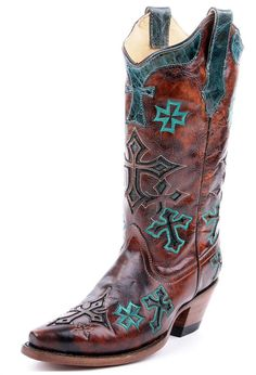 Corral Whiskey and Turquoise Cross Vintage Cowgirl Boots - Largest Corral Boots selection at www.HeadWestOutfitters.com