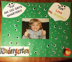 "day of school project ""Eye"" am 100 days smarter 100 Days Of School Project Kindergartens, 100 Day Of School Project, School Projects, School Ideas, Kindergarten Projects, Smart School, Love Days, 100th Day, Homeschool"