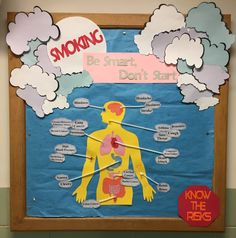 Anti smoking school health bulletin board, anti cancer awareness information with side effects