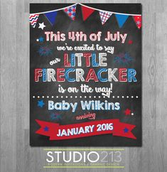 4TH OF JULY Pregnancy Announcement, Independence Day Pregnancy Announcement, Printable File, Digital File, Photo Prop Print