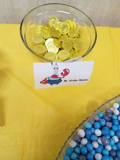 Chocolate coins put inside of one of mom's chest like boxes for Mr. Spongebob Birthday Party, 25th Birthday Parties, Spongebob Party Ideas, Birthday Party Decorations, Boy Birthday, Birthday Ideas, Sponge Bob Party, Party Candy, Candy Buffet