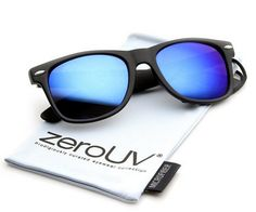 UV400 Flat Revo Colour Lens Large Horn Rimmed Style Sunglasses Includes Pouch