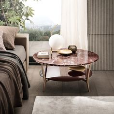 rame lacquered aluminum structure, rosso lepanto marble top, lower top in amaranto glossy lacquered glass