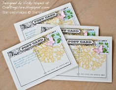 Stampin' Up ideas and supplies from Vicky at Crafting Clare's Paper Moments: Postcards, butterflies, dahlias...