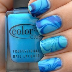 Blue swirl nail art #nails www.finditforweddings.com
