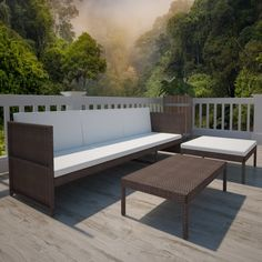 Brown Outdoor Poly Rattan Three-Seater Lounge Set
