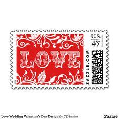 Love Wedding Valentine's Day Design Postage Stamp