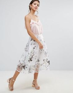 Amy Lynn Prom Skirt In Floral Print