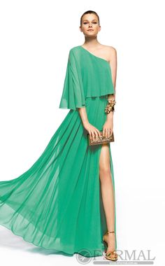 Green One Shoulder Prom Semi Formal Dress with High Slits(JTAU-0371) at 4formal.com.au