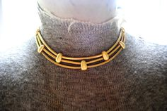 Industrial vintage 80s gold tone metal three strand by VezaVe