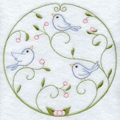 Machine Embroidery Designs at Embroidery Library! - Abounding Birds (Vintage)