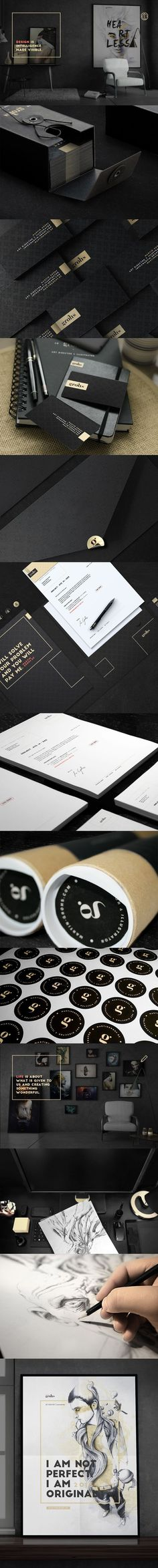 Unique branding design  in black, white and gold. Martin Grohs.