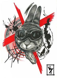 Trash polka rabbit #tattoo #tattooflash #rabbittattoo #trashtattoo #sketch #originalart #splashes #smudges #katewaissart #katewaiss