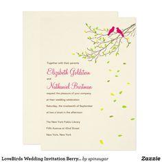 LoveBirds Wedding Invitation Berry Yellow & Green