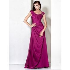 Formal Modest A Line Bateau Long Fuchsia Chiffon Evening Dress