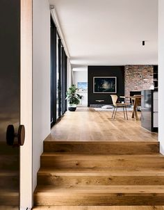 """Potentail idea for entry. Open up the entry and design wider steps into house like picture. May need to go """"into"""" the current second entry. Point Lonsdale House by InForm - Design Milk House Design, New Homes, House Interior, House, Home Remodeling, Home, Cheap Home Decor, Modern House, Beach House Decor"""