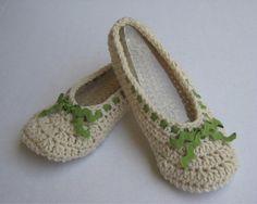 Women's Crochet Slippers with Ric Rac Trim by GloriasHandCreations, $25.00