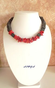 Red graphite necklace with coral in ACOYA JEWELLERY - DaWanda.com