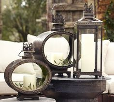 Love these old french lanterns! Want to hang them like sconces in the front room