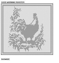 GOOD MORNING ROOSTER FILET CROCHET AFGHAN DOILY PATTERN EMAIL VERSION