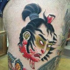 """""""#namakubi head done by @acetates He's #booking appointments for #january here @immovabletattoo info@acetates.es to get your slot. #japanesetattoo…"""""""
