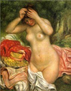 Bather arranging her Hair - Pierre-Auguste Renoir