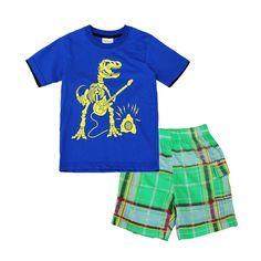 Sale 12% (8.99$) - 2015 New Lovely Dinosaur Blue Baby Children Boy Pure Cotton Short Sleeve   Shorts Suit