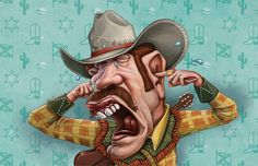 """Heart 104.9fm - cowboy illustrated by Studio Muti for the """"We're turning up the R'nB"""" campaign. By www.the-greenhouse.co.za"""