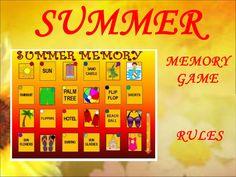 Summer Memory Game, esl activities, esl, esl games, fun stuff, teaching, PPT, PPT games, summer, memory game, for kids