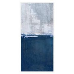 Navy Dive Blue Abstract Tall Canvas - II | Kathy Kuo Home