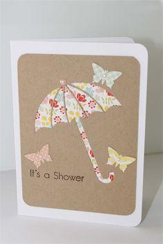 Baby Shower Card - baby girl umbrella butterflies