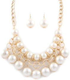 Linked Pearl Necklace Earrings Set  - $22