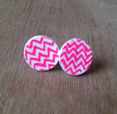 pink and white chevron wooden studs