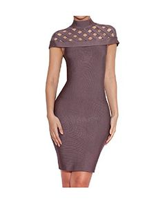 Whoinshop Damen High Neck Lattice Bodycon Midi-Verband-Kleid Grau M