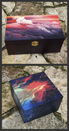 manuelalendoyro - - manuelalendoyro WOODEN JEWELRY BOX DIY Hand painted wooden boxes by Manuela Lendoyro aka manunu Wooden Box Crafts, Painted Wooden Boxes, Painted Jewelry Boxes, Hand Painted, Diy Painting, Painting On Wood, Wooden Box Designs, Jewelry Box Makeover, Decoupage Box